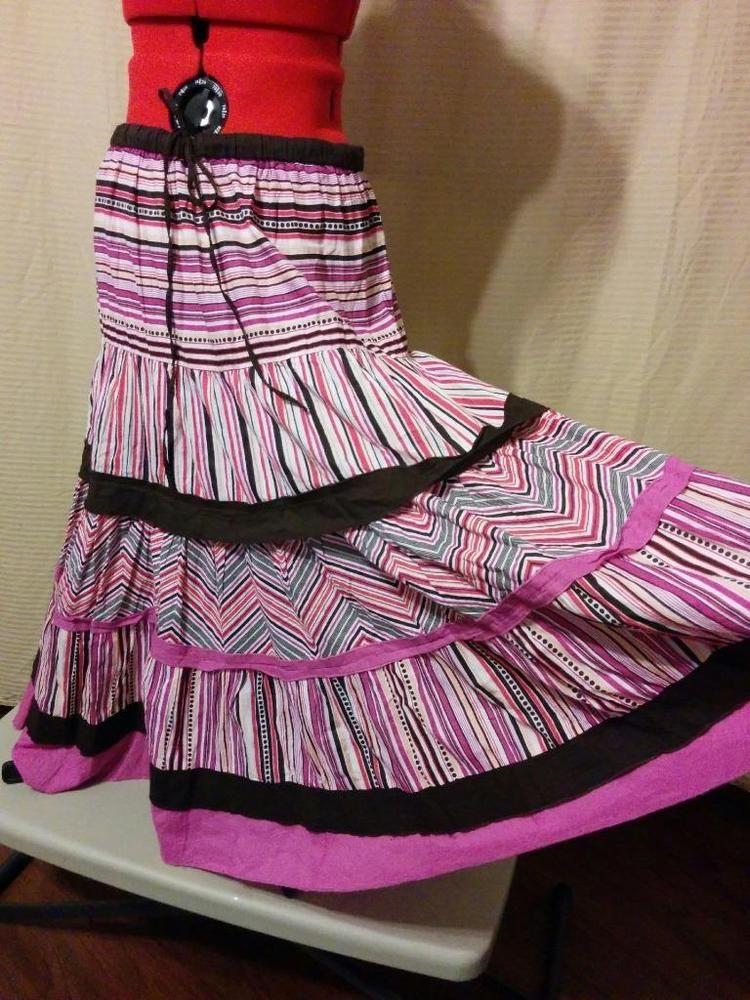 bb0d5bf86dbfb Peasant Skirt Madison Size Medium 100% Cotton Tiered Stripe Drawstring Waist