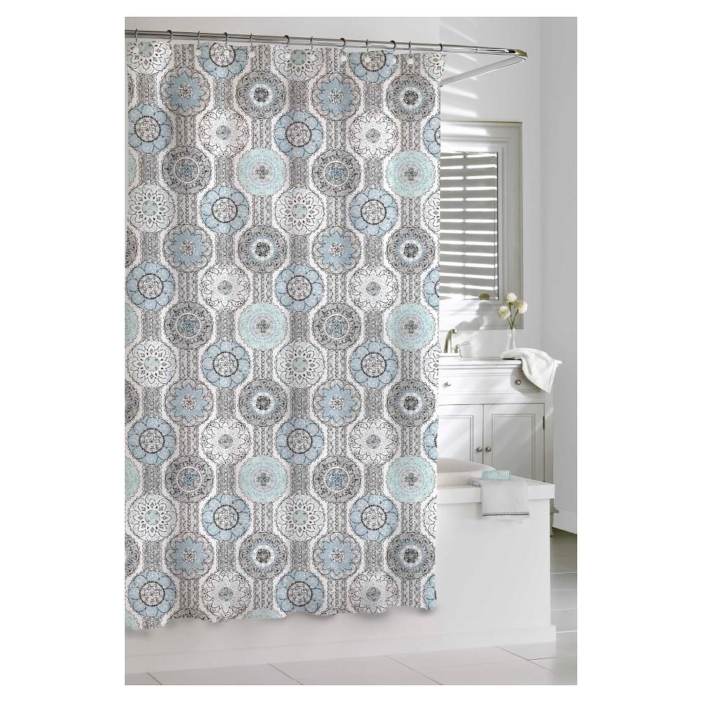 Kassatex urban tiles shower curtain bluegrey bathroom ideas