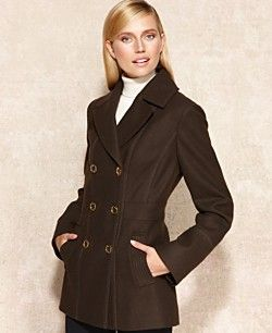 MICHAEL Michael Kors Coat, Double-Breasted Wool-Blend Pea Coat