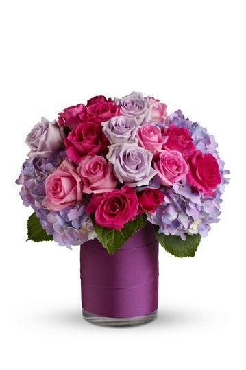 Floral Arrangement Purple Hydrangea Pink Roses Lavender Roses And
