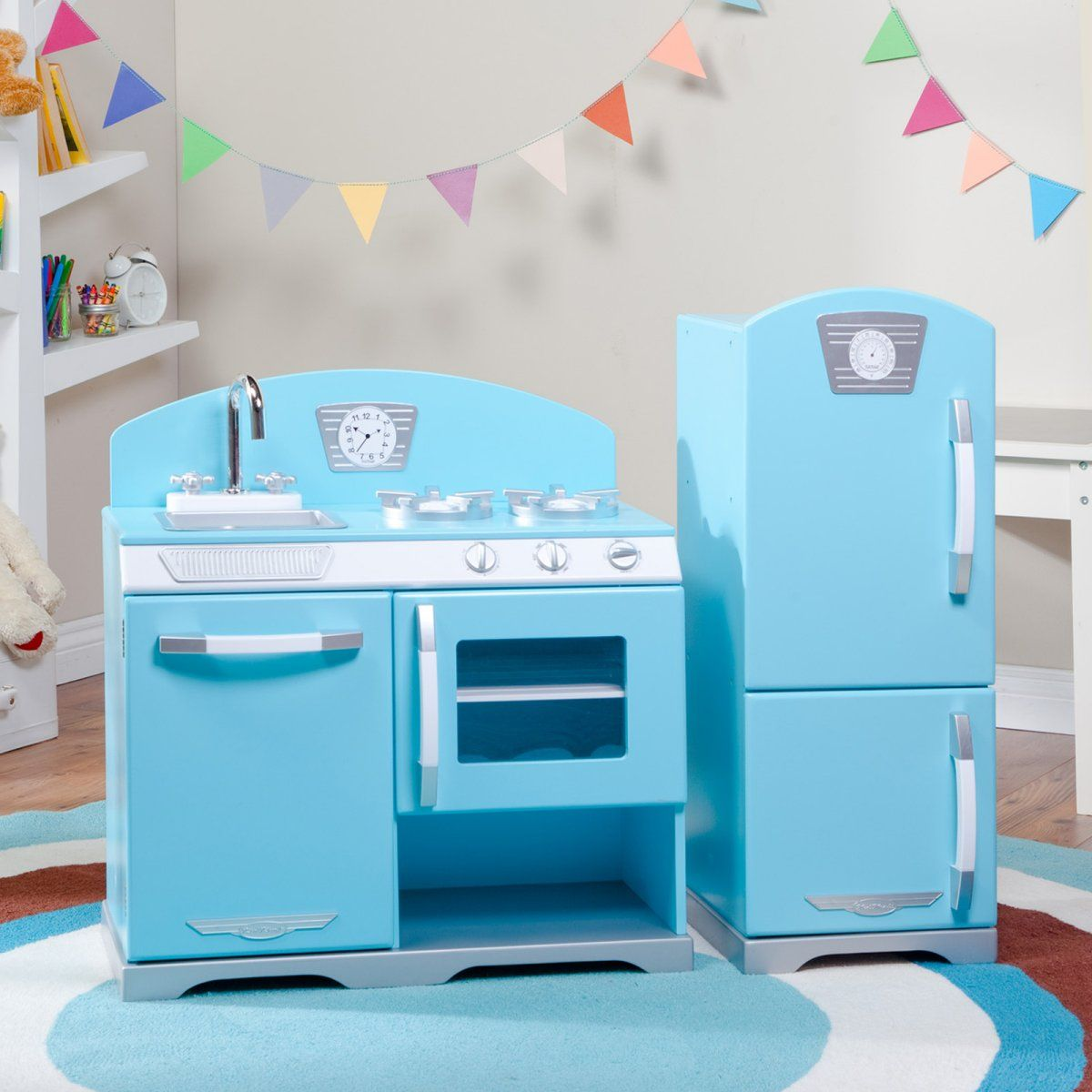 Kidkraft Retro Kitchen kidkraft 2 piece blue retro play kitchen | kids kitchen