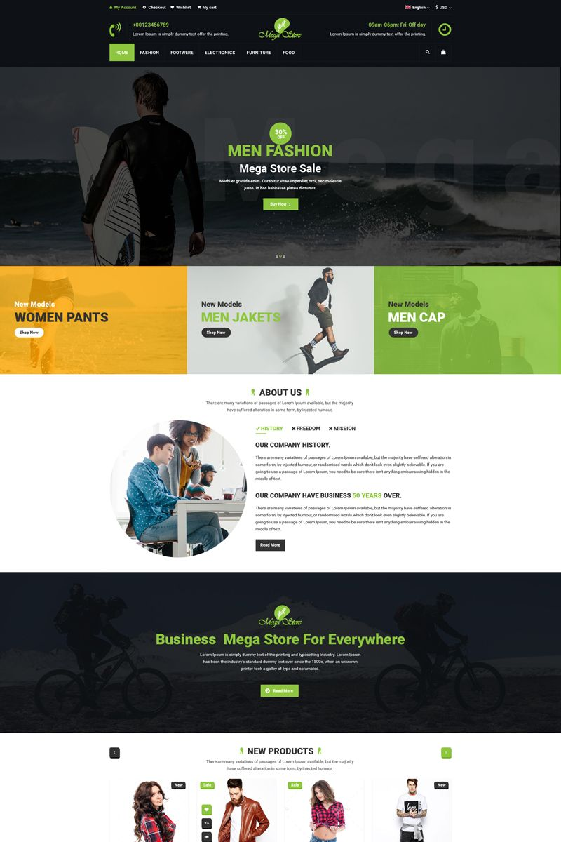 Mega Store E Commerce Online Shop Psd Template 68091 Typography