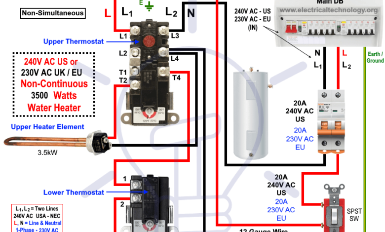 How to Wire 240V 230V Water Heater Thermostat Non
