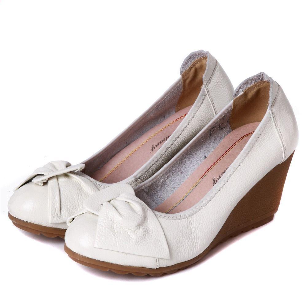 2018 Nowe Pojedyncze Buty Damskie Modele Wiosenne I Jesienne Skorzane Modne Dzikie Buty Szpilki Z Malymi Bialymi Womens Shoes Wedges Leather Fashion Mom Shoes