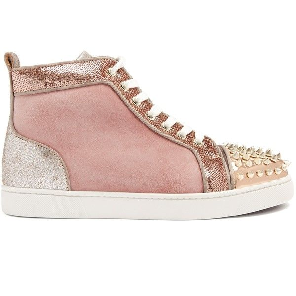 8531fa063e6c Christian Louboutin Lou stud-embellished suede high-top trainers ( 995) ❤  liked on Polyvore featuring shoes