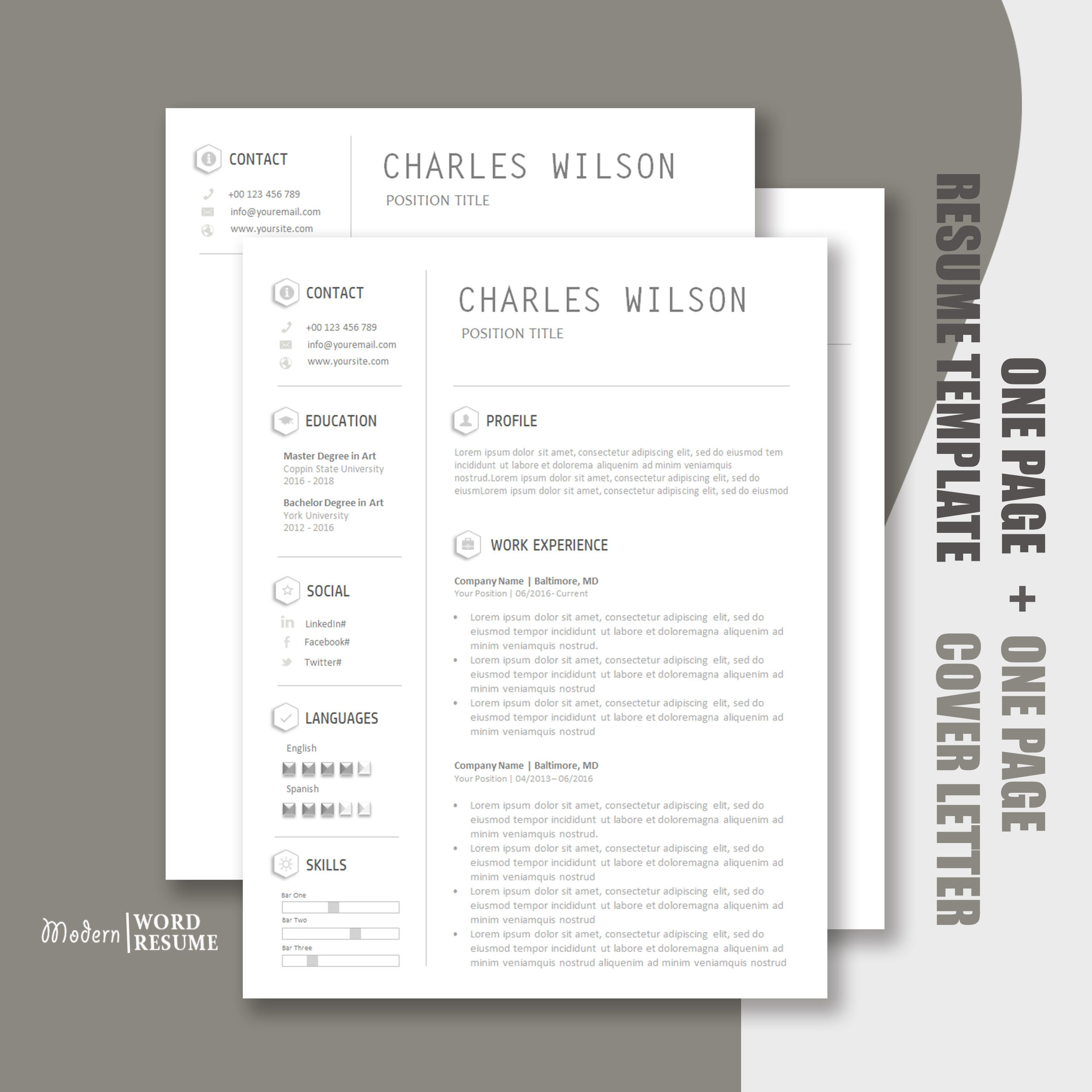 Resume Template One Page Resume Cover Letter Reference