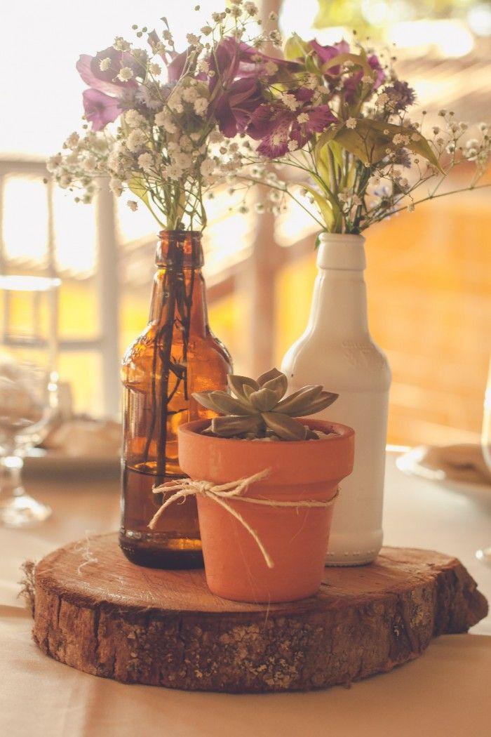 Inspira es para um casamento r stico centro de mesa diy for Como hacer una mesa de centro