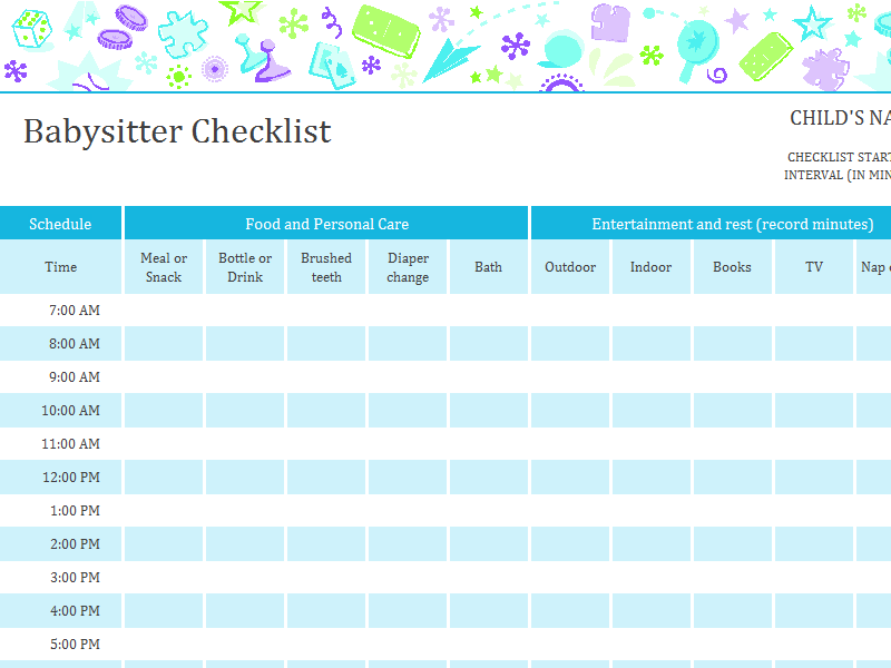 babysitter checklist with schedule for the home pinterest