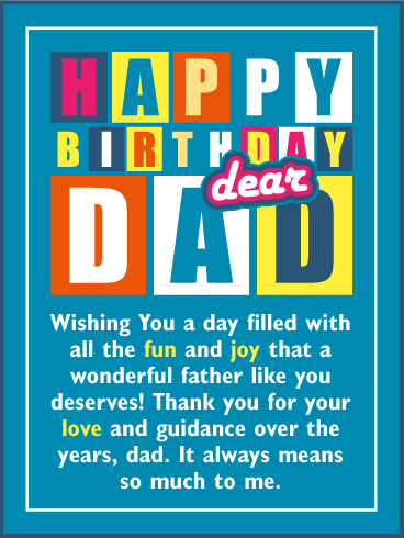 Wishing You A Fun Joy Day Happy Birthday Card For Father Birthday Greeting Cards By Davia Happy Birthday Dad Happy Birthday Daddy Birthday Greetings For Dad