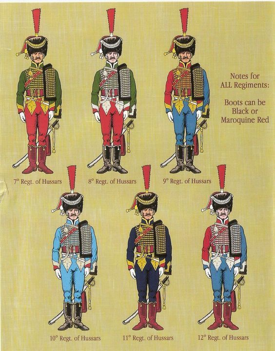 French Hussar Regiments 7-11:  Officers in busbies