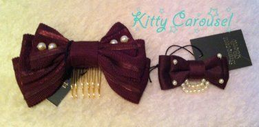 Innocent world ribbon pearl bow clips wine