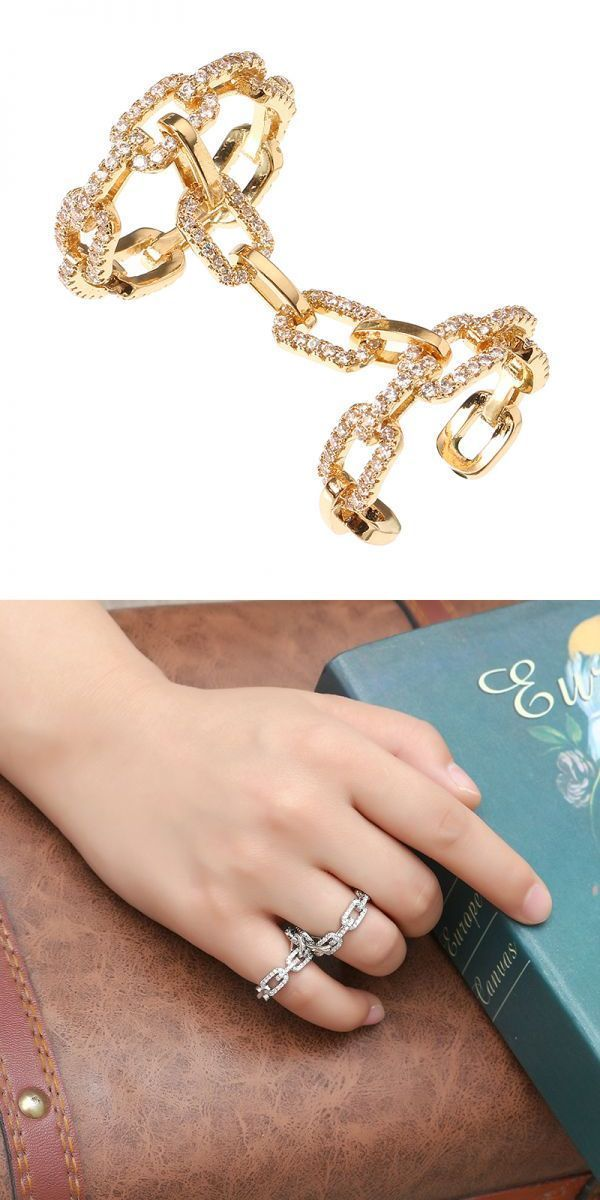 24k Gold And Platinum Plated Punk Chain Shape Shiny Zircon Two
