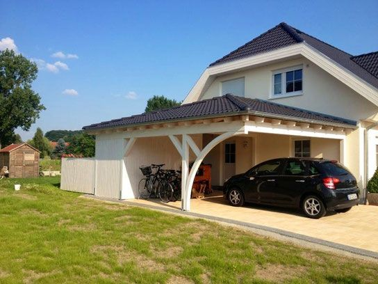 walmdach carport am haus solarterrassen carportwerk gmbh carports porte cochere. Black Bedroom Furniture Sets. Home Design Ideas