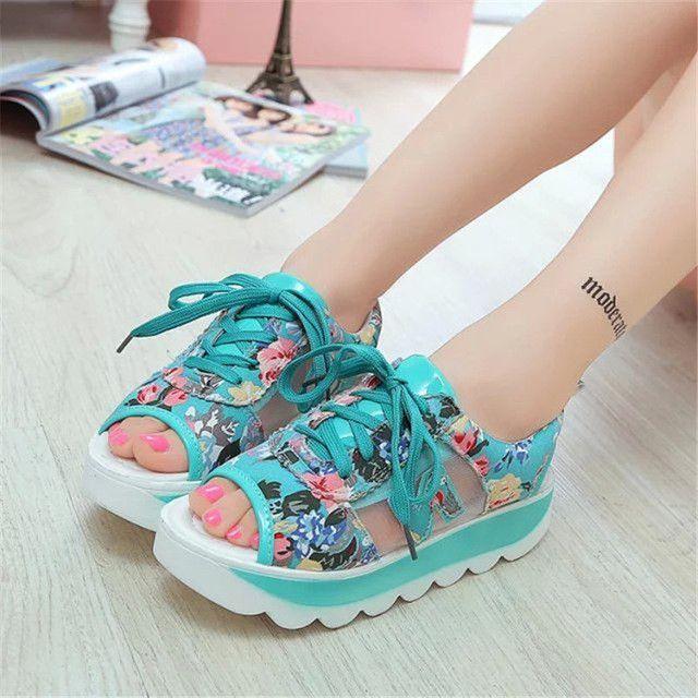 Fashion Summer Women's Sandals Casual Sport Mesh Breathable Shoes 2017 Women Ladies Wedges Sandals Lace Platform Sandalias