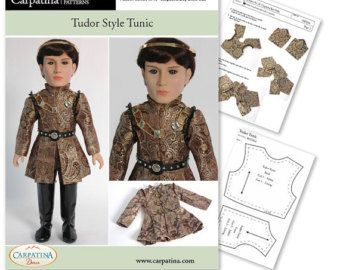 """18/"""" Carpatina /& American Girl Outlander Claire Peonies Doll Dress PDF Pattern"""