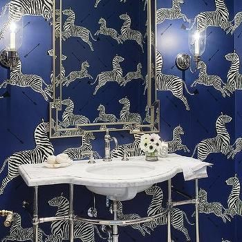 Blue Scalamandre Zebra Wallpaper in Powder Room in 2020 ...