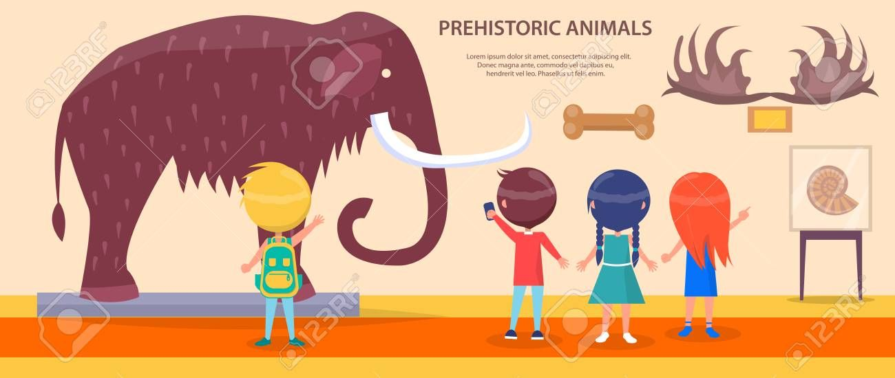 Prehistoric Animals Exhibition with Huge Mammoth Illustration , #AD, #Exhibition, #Animals, #Prehistoric, #Illustration, #Mammoth #prehistoricanimals