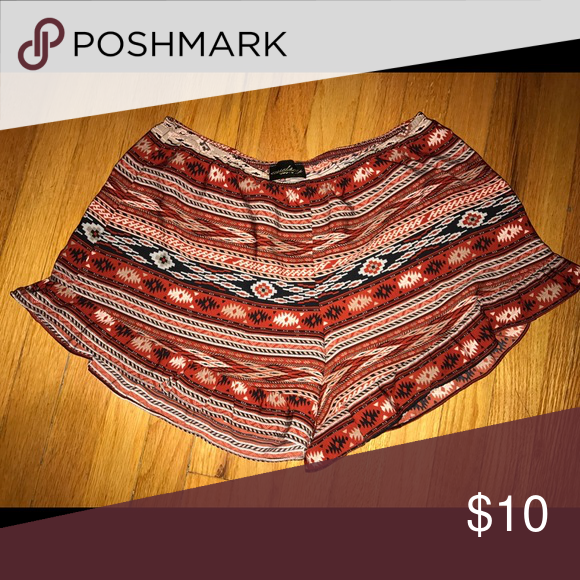 Aztec print soft shorts Aztec printed soft shorts with bottom ruffle lining Shorts