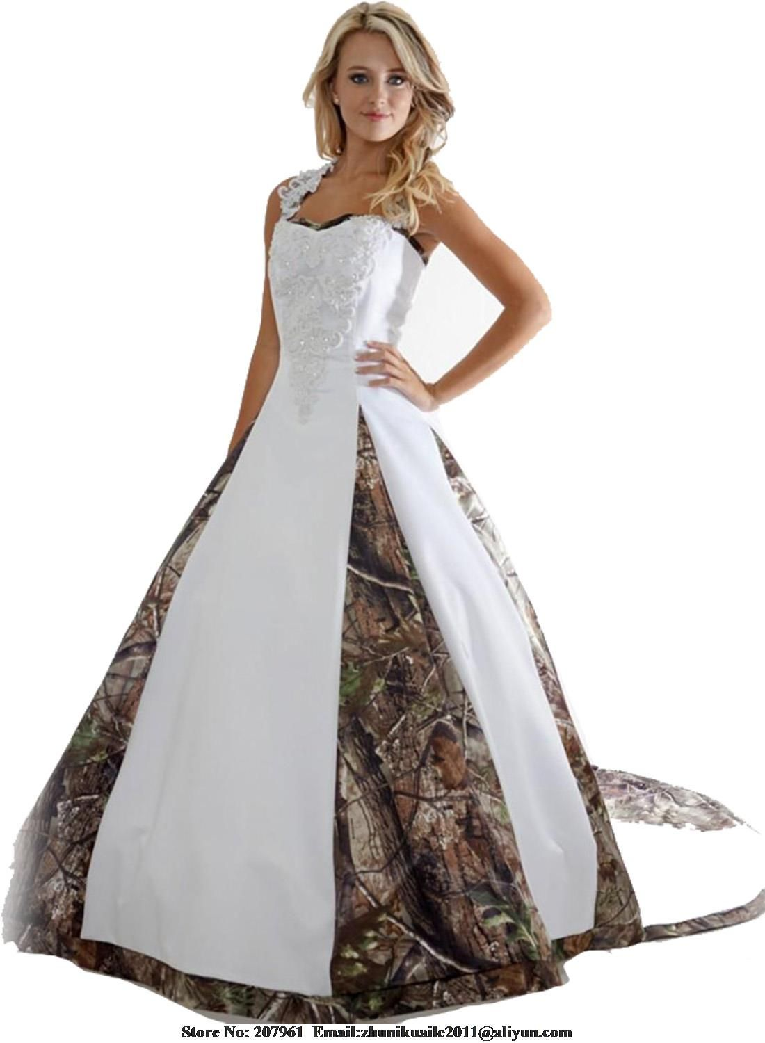 Stock new camo wedding dresses satin camouflage bridal gown