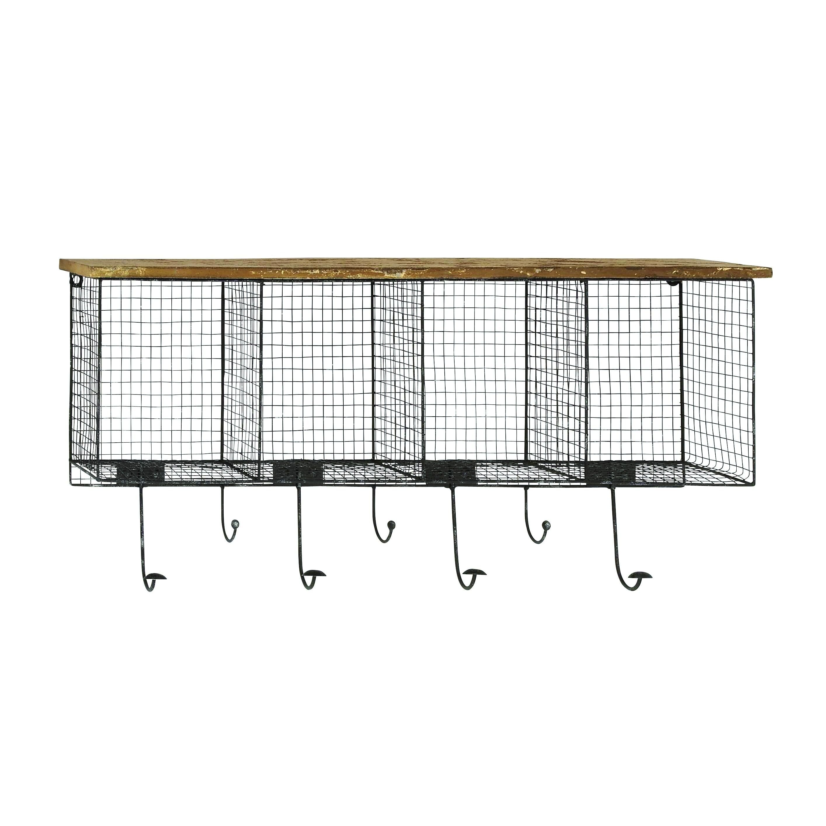 Natural Iron/Wood Wire Mesh Wall Pocket with Seven Metal Hooks ...