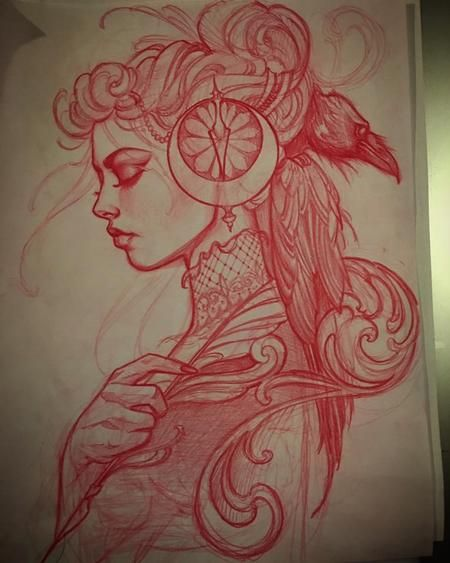 Red pencil sketch by Jeff Norton : Original Art