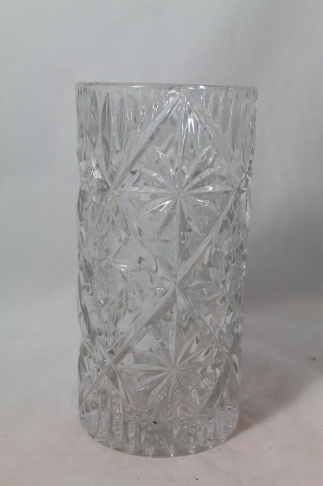 Cut Glass Hobstar Pinwheel Heavy Lead Crystal Flower Vase 8x4