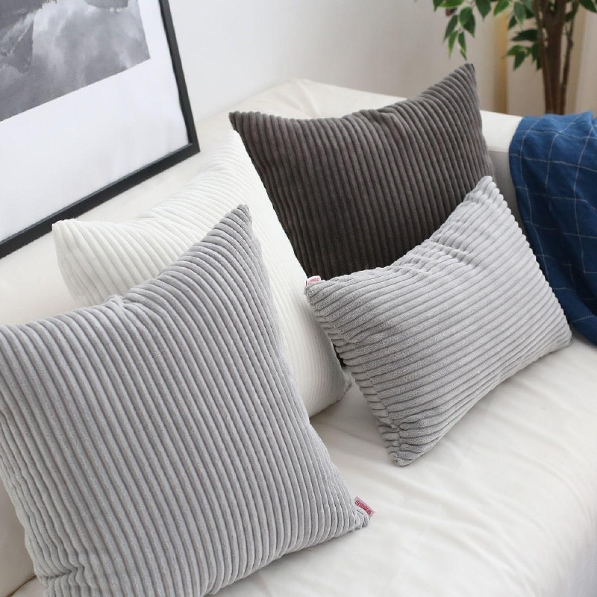 Soft Corduroy Flocking Stripe Cushion Cover in 2020