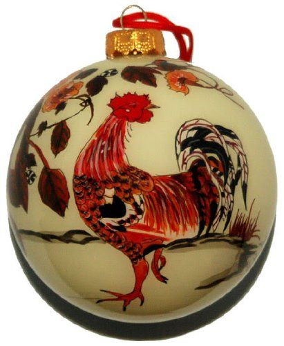 Link to buy a beautiful hand-blown rooster Christmas tree decoration. - Christmas Tree Ornaments - With A Chicken Theme! Favorite