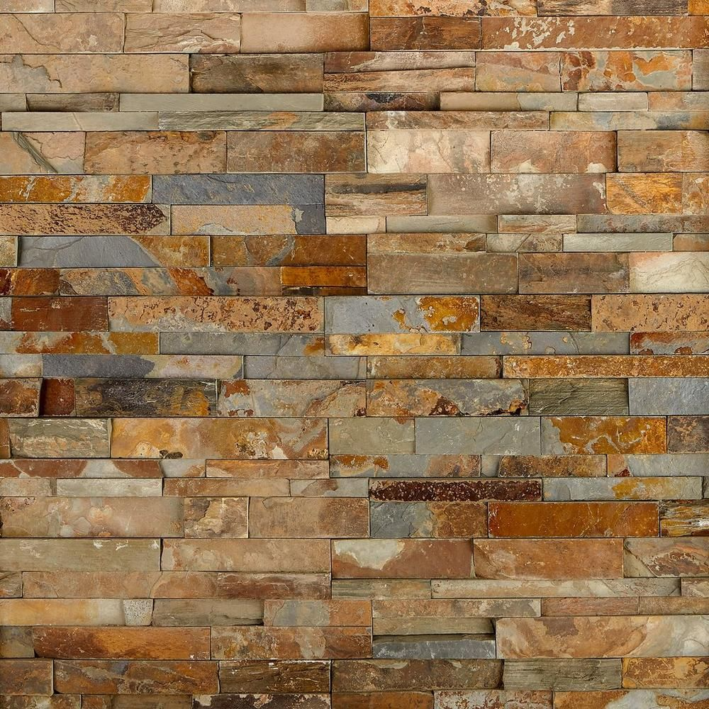 Earth Tone Accent Wall Colors Fireplace: Multicolor Splitface Slate Panel Ledger In 2020