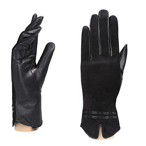 YISEVEN Damen Winter Handschuhe aus echtem Schaffell Leder handschuhe mit warm gef/üttert