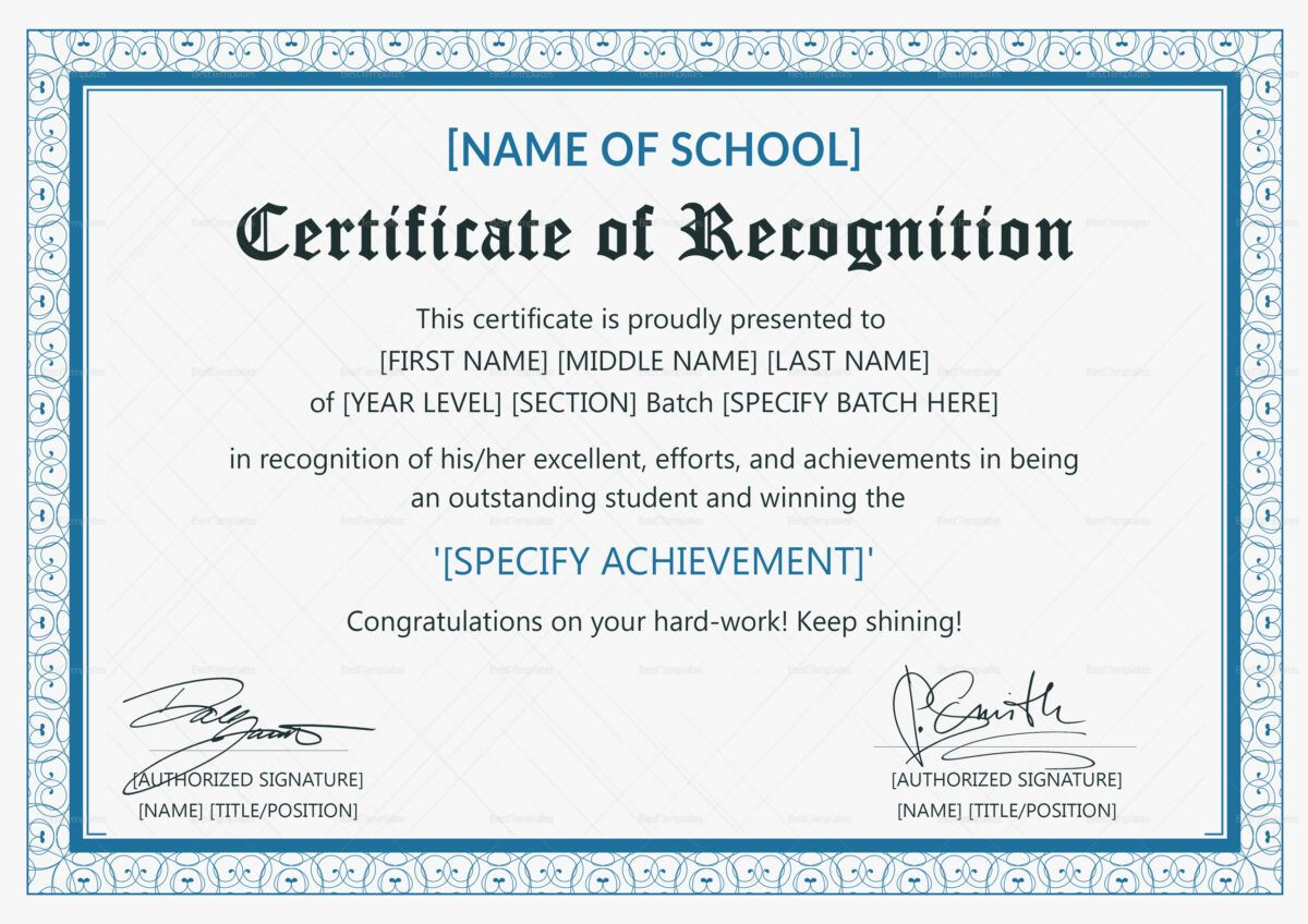 Outstanding Student Recognition Certificate Template With Reg Sample Certificate Of Recognition Certificate Of Recognition Template Certificate Design Template Samples of certificate of achievement