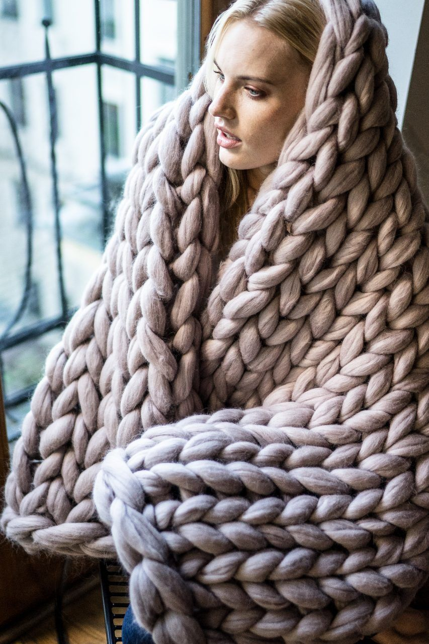 Hand Knit Blanket Chunky Yarn