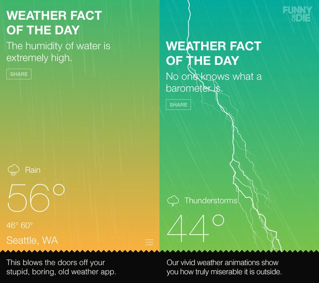 No joke Funny or Die releases real weather app Funny