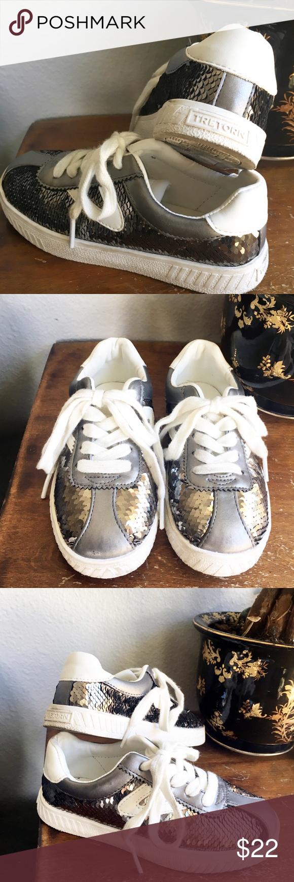 Girls silver sequin sneakers Tretorn