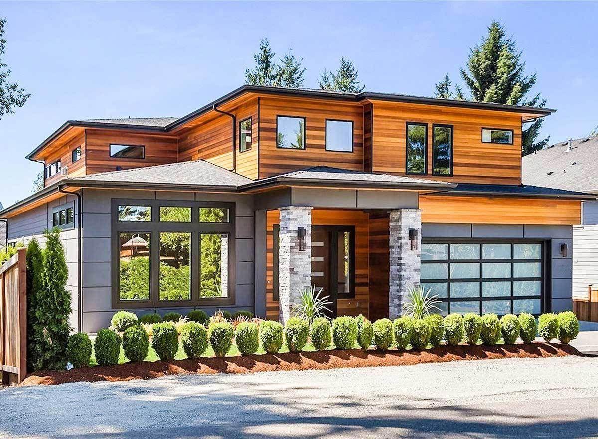 Plan 23694JD: Modern Prairie House Plan with Tri-Level ...