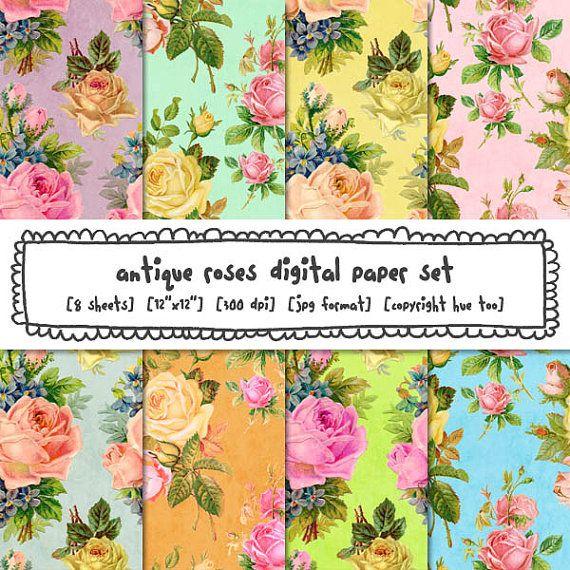 Antique Roses Digital Paper Shabby Vintage Flower Backgrounds