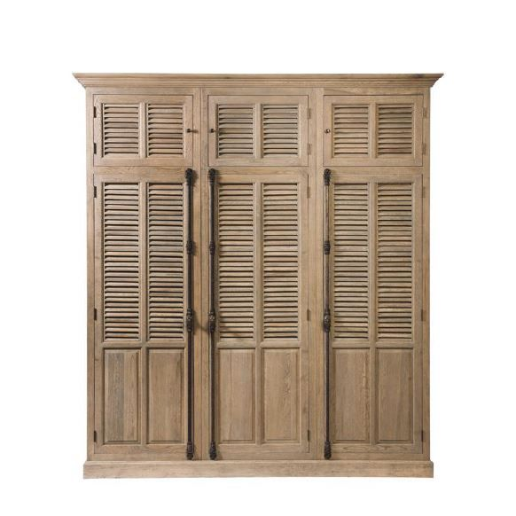 Armoire de chambre armoire en ch ne gris 2 fois 3 portes for Armoire chambre style colonial