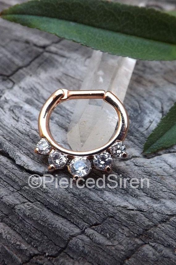 Septum piercing clicker 14g or 16g hinged five gem prong set rose ...