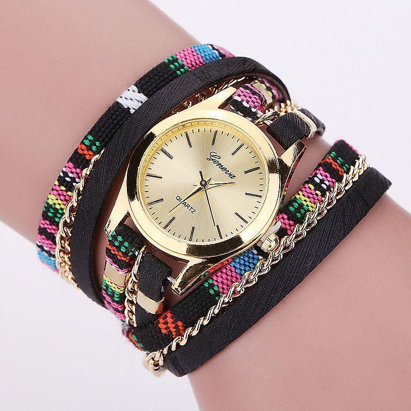 Barato Venda quente Nova Moda Pulseira De Couro Relógio Das Mulheres Relógio de…