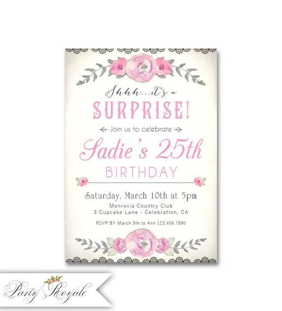 Surprise 25th Birthday Invitations For Her Party Invites Printable Personalized File Or Printed Cards With Envelopes