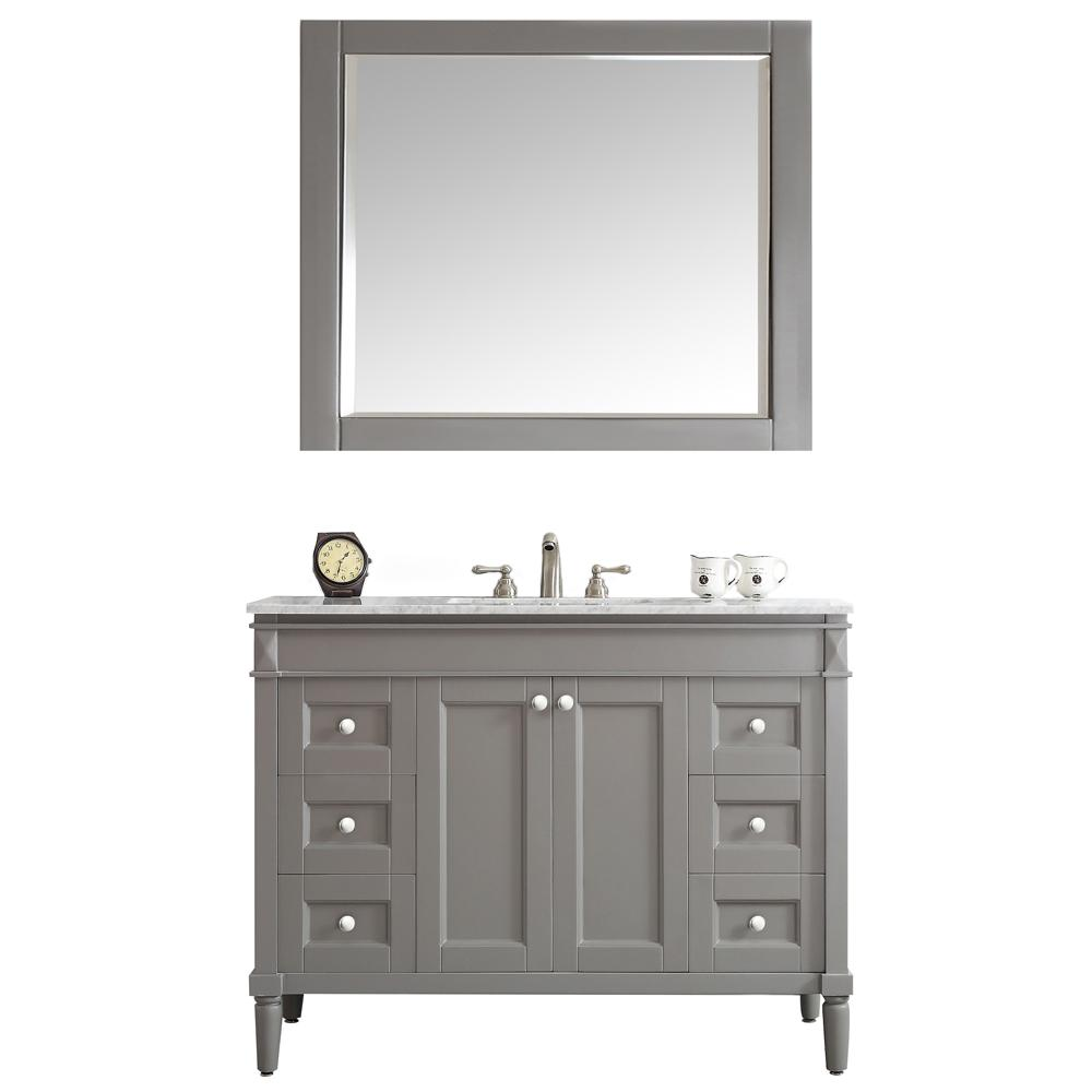 Roswell Catania 48 In W X 22 In D X 35 In H Vanity In Grey With Marble Vanity Top In White With White Basin And Mirror 715048 Gr Ca With Images Marble Vanity