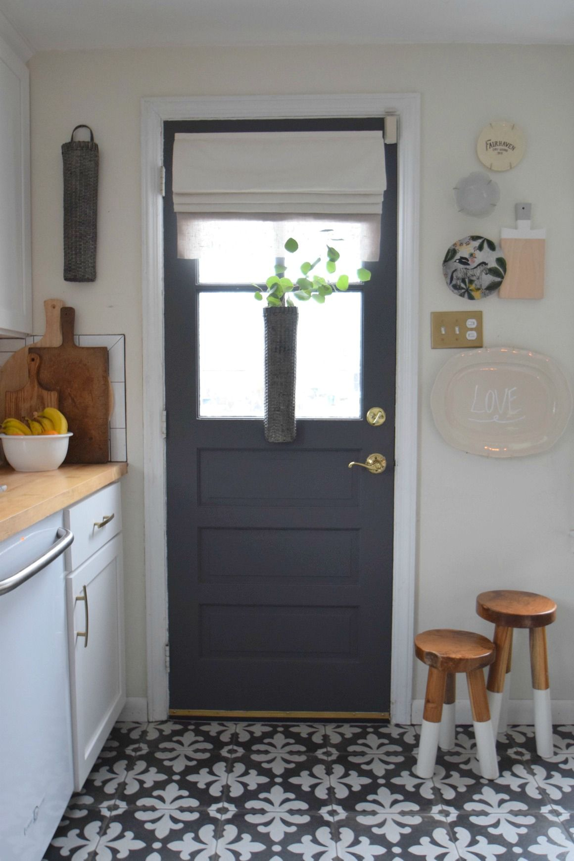 Gray paint change up on our interior kitchen door - Gray interior paint ...