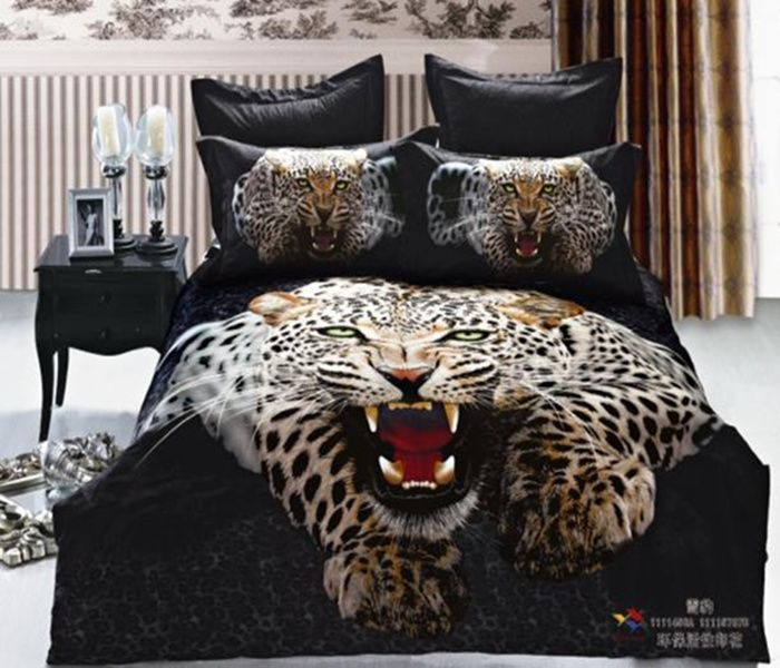 100 Cotton Luxury Queen King Size Bed Set Bedding Bedclothes Animal Lion Tiger Leopard Printed Duvet Cover Bedspread