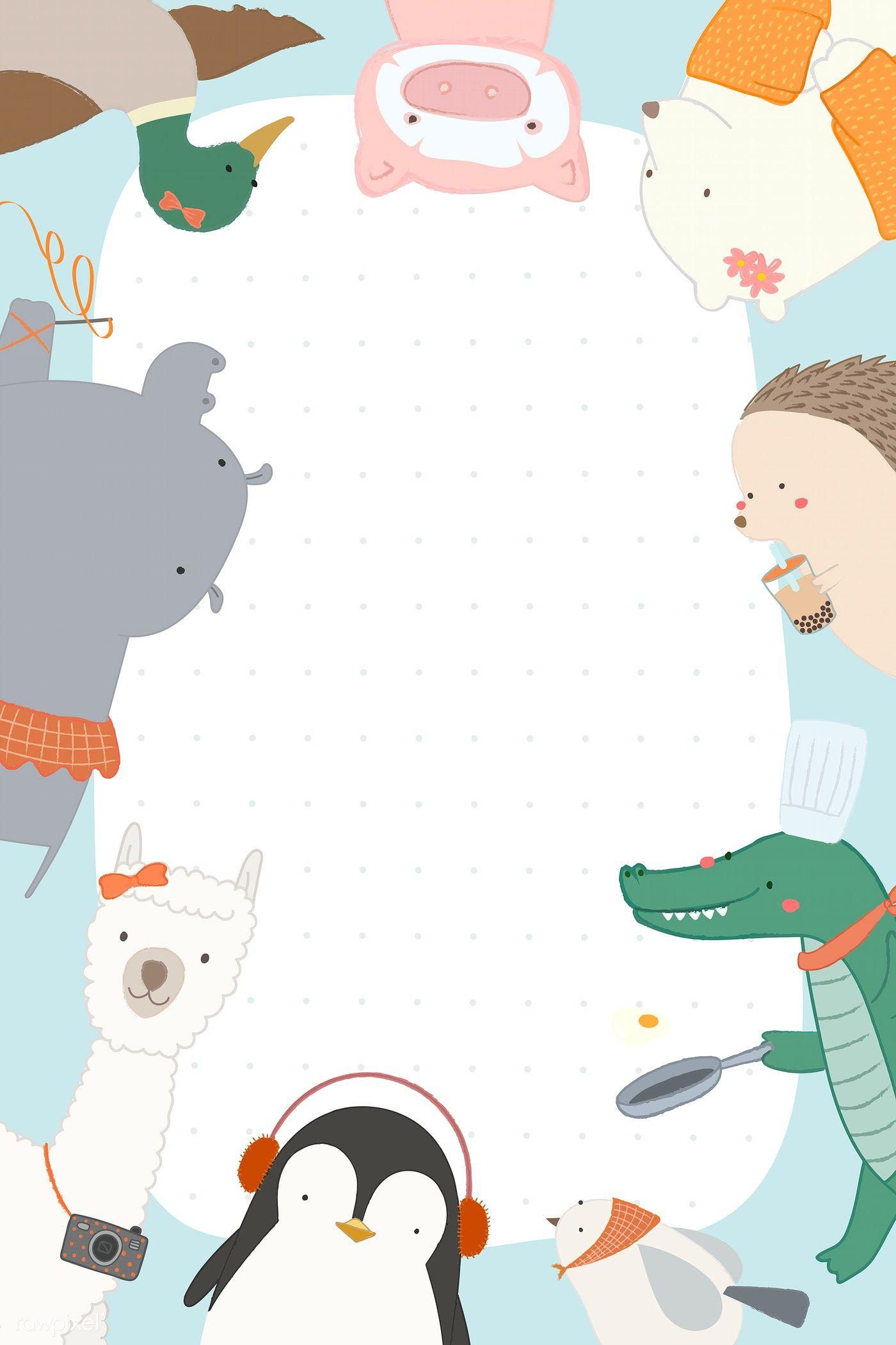 Download Premium Vector Of Cute Animal Background Vector 2053273 Cute Animal Drawings Cute Animals Animal Doodles