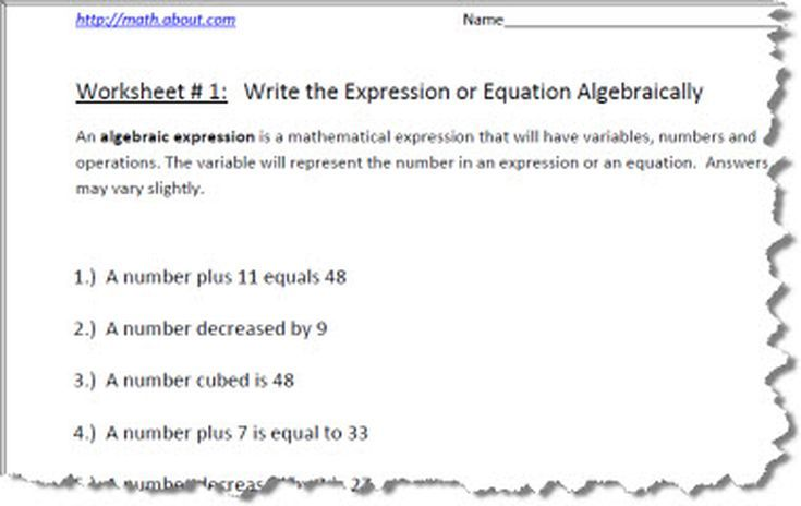 practice your algebraic expressions with these pre algebra