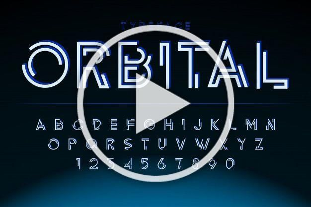 Fonte de exibição futurista, alfabeto, c...   Premium Vector #Freepik #vector #vintage #geometrico #linha #luz