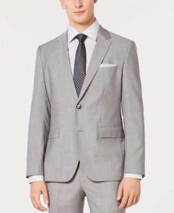 648468d4b Hugo Men's Slim-Fit Light Gray Tonal Grid Suit Jacket - Gray 42L in ...
