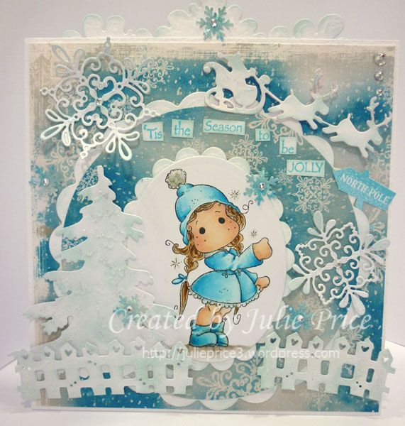 Show the way Tilda from the Winter Wonderland collection along with Doohickey Snowfakes and Lovely Fence Further details on my blog  http://julieprice3.wordpress.com/2013/11/12/winter-at-magnolialicious/