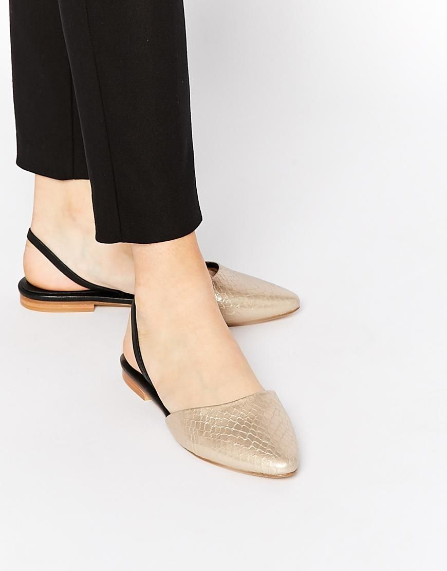 31da4970a ALDO | ALDO Kyra Rose Gold Open Slingback Flat Shoes at ASOS | let's ...