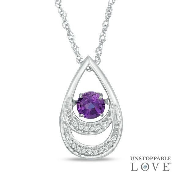Zales Pear-Shaped Amethyst and Diamond Accent Teardrop Pendant in 10K Gold ypRrM